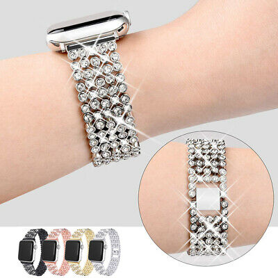 38/42/44mm Metal Bling Diamond Strap Watch Band For Apple iWatch Series 5 4 3 2