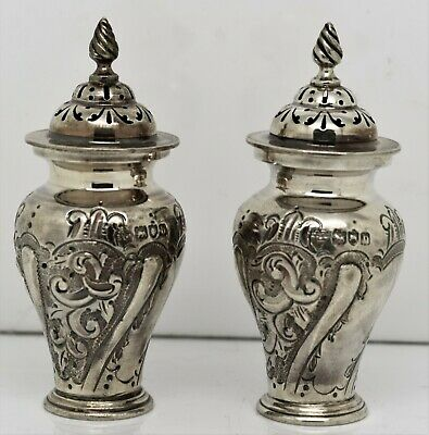 Pretty pair of Victorian REPOUSSED Solid silver PEPPER POTS, Mappin Bros. 1897
