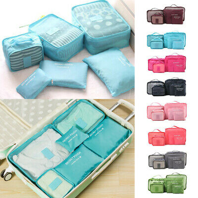 6Pcs Packing Cubes Travel Pouch Luggage Organiser Clothes Suitcase Storage Bags