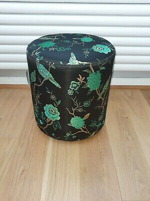 Oriental Jacquard Green Footstool - Coach House