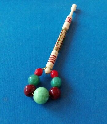 Bovine Bone Lace Bobbin. Wire & Tiny Beads of Red & Green on Shank. Spangles.