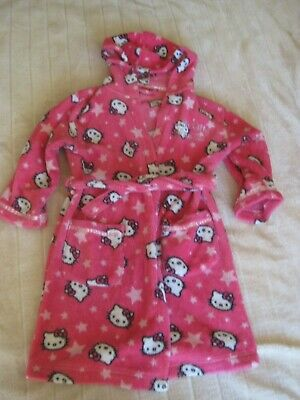 BHS Girls Hello Kitty Pink Dressing Gown Age 7 Years with in built belt