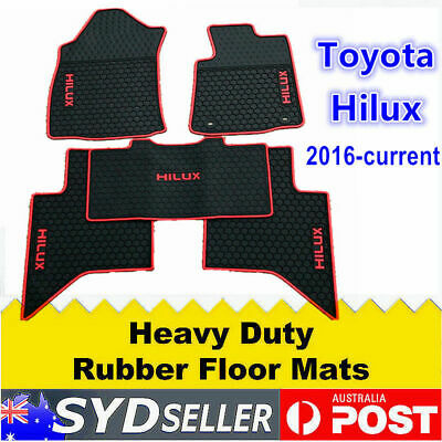 Heavy Duty Red Black Rubber FLOOR MATS FOR TOYOTA HILUX 2016 - 2019 Dual Cab SR5