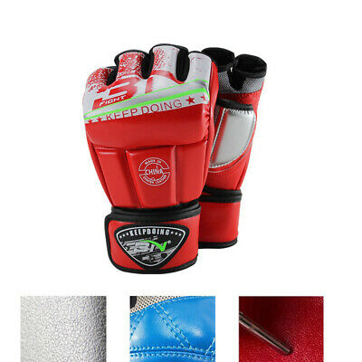 1 Pair Boxing Training Gloves MMA Faux Leather Fighting Sparring Unisex M L