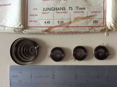 4 Junghans 75 Time  Mainsprings 3 New Unused + 1 Used H 4.40 x T .20 x L 550
