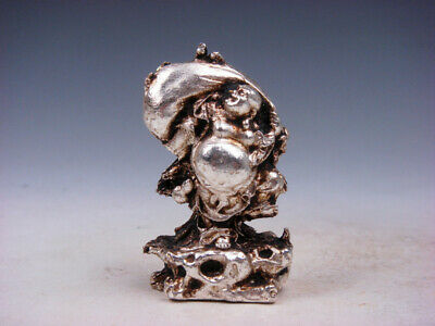 Tibetan Silver Copper Crafted Sculpture Laughing Buddha Treasure Bag #12011925