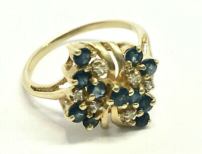 14K Yellow Gold Blue Sapphire & Diamond Cluster Ring (3.1 Grams, Size 7)