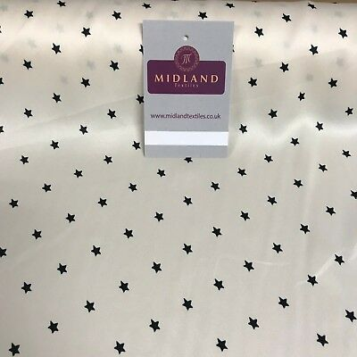 """Buttercream Star printed crepe back silky smooth satin fabric 43"""" wide"""