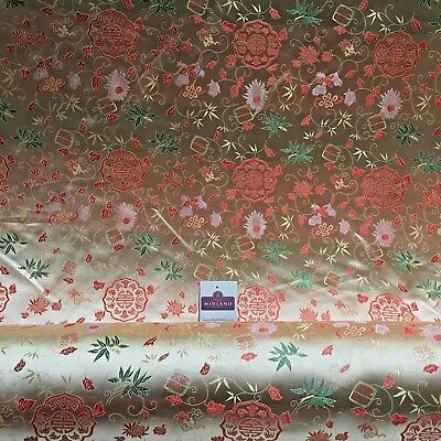 """Gold Floral Medallion Chinese Brocade Satin Fabric 44"""" Wide M395-17 Mtex"""