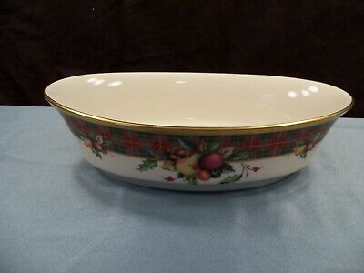 Lenox HOLIDAY TARTAN Dimension Collection Oval Vegetable Serving Bowl NWT
