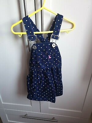 Joules Cord Navy Polka Dot Pinafore Dungaree Dress Girls Age 2
