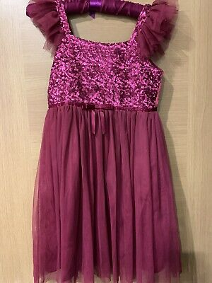 Beautiful BNWOT Deep Pink Sequin Girls Party Dress Age 10 SO PRETTY