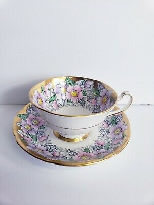 Vintage Gold Floral Royal Grafton Bone China Tea Coffee Cup and Saucer Set