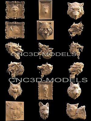3D STL Models for CNC Router Artcam Aspire Collection Head Wolf Animal H3