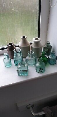 VINTAGE OLD ANTIQUE MINI INK GLASS & STONE WARE BOTTLES x 11 GOOD CONDITION