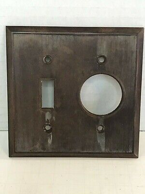 Antique Vintage Toggle Switch Round Mono Outlet Cover Plate Brown Bakelite