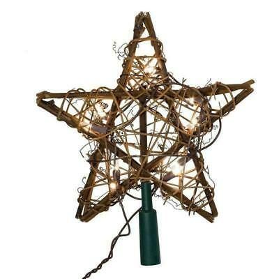 Kurt Adler 10 Light Rattan Indoor Treetop Natural Star New Christmas Tree Topper