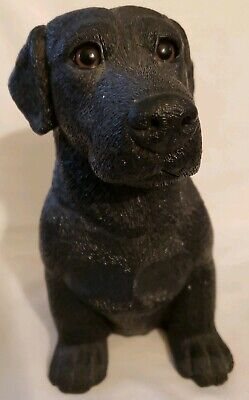 """Black Lab Dog Coin Bank with Original Stopper Americast 7"""" Tall"""