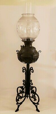 Antique 1894 Bradley and Hubbard B&H Victorian GWTH Banquet Cast Iron Oil Lamp