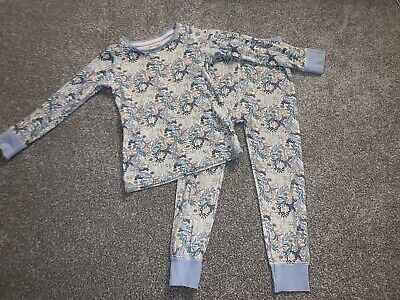 Next Girls Blue Paisley Floral 100% Cotton Vintage Style Pyjamas Age 3-4 Years.