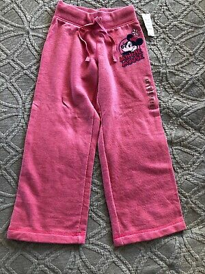 NWT Pink Minnie Mouse Fleece Pants By Disney Store, Girls Size 5/6