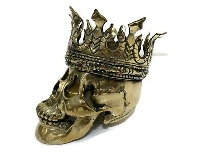"""SKULL Crown head Statue  natural AGED 100% BRASS old style 6 """"Hand Made Hollow b"""