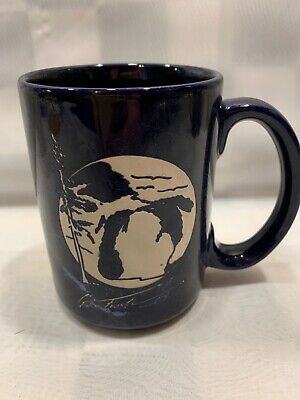 GWEN FROSTIC Blue Marble Pattern Nature Coffee Cup Mug