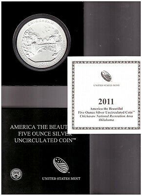 US 2011 America The Beautiful CHICKASAW NATIONAL PARK UNC 5 oz SILVER COIN w BOX