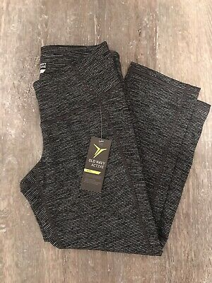 Old Navy Gray/Black Striped Compression Leggings, Cropped, Size Small, NWT!