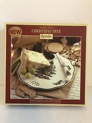 """Spode Christmas Tree Appetizer Plate with Knife--9"""" Plate- NIB"""