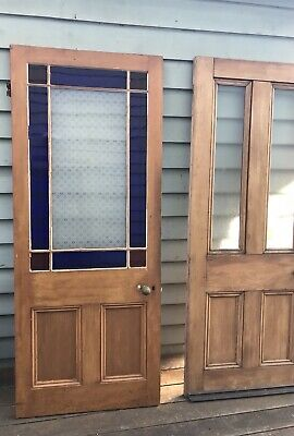 Antique Victorian Timber Ruby Cobalt Blue Glass Door Vintage House -Brunswick