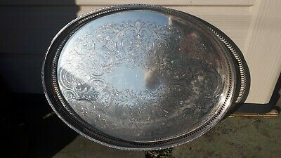 Vintage Antique large  Silver Plate Gallery Tray Pierced Chased  Serving EPNS
