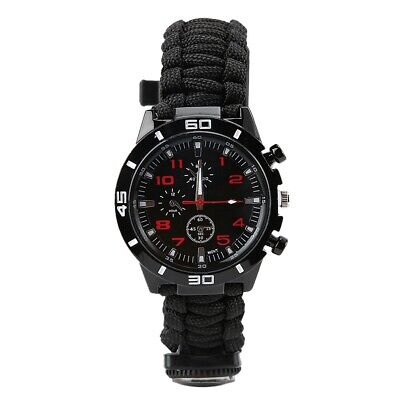Multi-Function Outdoor Survival Watch With Flint Fire Starter Compass Whistle