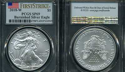 2018 W Burnished American Silver Eagle Pcgs Sp69 Ms69