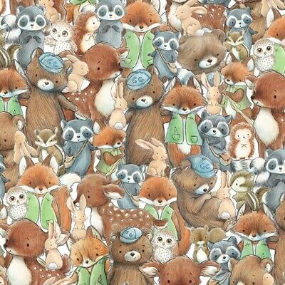 Woodland Wild Animals on Red 100/% cotton fabric 44 inch// 110cm material lion fox