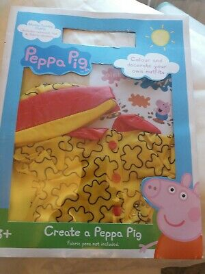 Peppa Pig Muddy Puddles Outfit. Includes Raincoat, Hat & Fabric Stickers