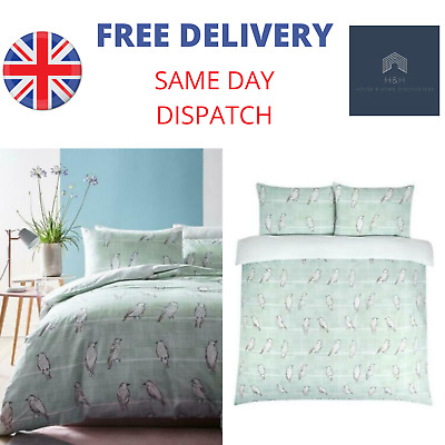 Ideal Home Bird Print Cotton Duvet Cover Bedding Set in Duck Egg Blue - Single