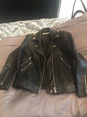Girls Real Leather Biker Jacket Age 9-10 Years.