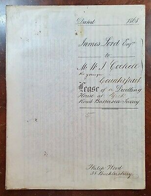 1868 Vellum Indenture Lord to Cockell for House at 5 York Road, Battersea