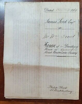 1868 Vellum Indenture Lord to Froud for House at Yelverton Road, Battersea.