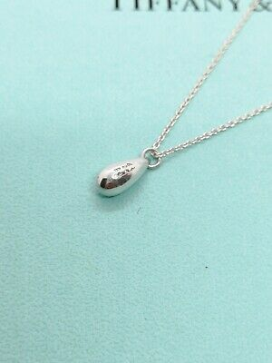 Authentic Tiffany & Co. Elsa Peretti Tear Drop Pendant Necklace Silver 16inch ②