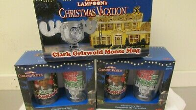 NATIONAL LAMPOON'S CHRISTMAS VACATION CLARK GRISWOLD MOOSE MUG +Glasses #8