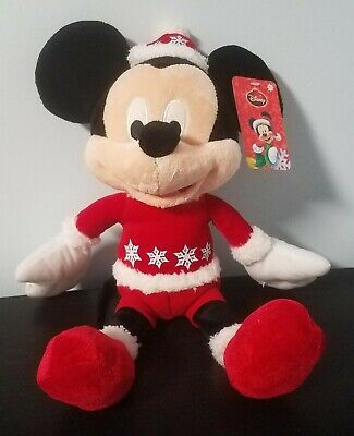 "Disney Christmas Mickey Mouse 14"" Plush w/ jingle bell inside 2014 Just Play"
