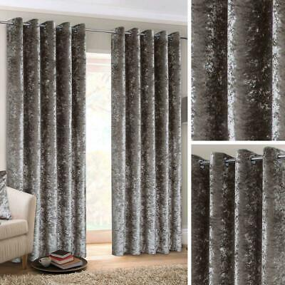 Grey Eyelet Curtains Crushed Velvet Ready Made Lined Ring Top Curtain Pairs