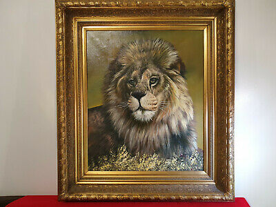 Very large and beautiful Lion oil painting by Rex Johnstone, fine art,gilt frame