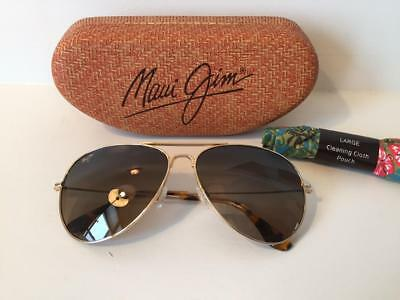 New Maui Jim Mavericks Polarized Titanium Sunglasses HS264-16 Gold//Bronze