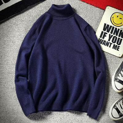 Men's Sweater Stretch Shirts Thermal High Collar Turtleneck Pullover Long Sleeve