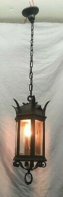 Antique Gothic Ceiling Pendant Porch Light FIxture Old Vtg Beveled Glass 395-19E