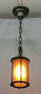 Antique Brass Pendant Porch Ceiling Light Fixture Amber Glass Shade Vtg 396-19E