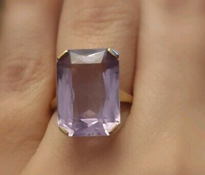 Fine Gold Art Deco Large Emerald Cut Amethyst Ring Antique Vintage O 1/2 6 1/4